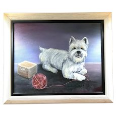 Betty Jackson - Oil on Canvas of a Scottie Dog/Scottish Terrier playing with a Ball of Yarn