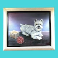 West Highland Terrier playing with a Ball of Yarn - Betty Jackson - Oil on Canvas