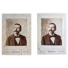 Cabinet Card Pair on Engraved Matting, Portrait of a Gentleman