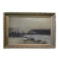 Unsigned Oil on Canvas - Winter Landscape with Farm House and Barn