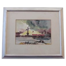 Samuel Homsey - Watercolor of a Shipyard or Port