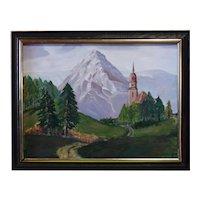 Illegible Signature - Oil on Panel of European Landscape