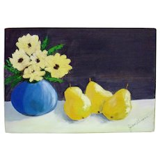 Still Life Flowers and Pears on Wooden Board - Signed Jean Grass