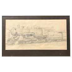 Signed MC - Pencil Sketch on Paper of 1914 Southern Railway Locomotive Train