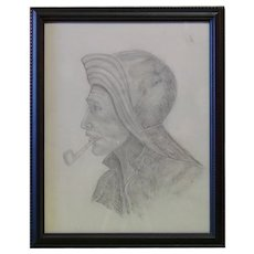 Mariner or Fisherman - Unsigned Sketch on Paper