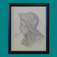 Unsigned Sketch on Paper of Mariner or Fisherman