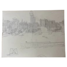 New York Harbor and New York Skyline - Large Sketch, Pencil on  Canvas