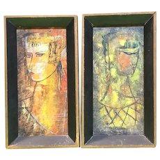 Antonio Vasquez Parra (Mexican, 1927-1984) - Pair of Mid Century Modern Oils on Panel