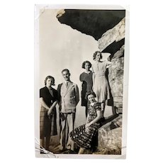 Black and White Family Photo at Umbrella Rock, Chattanooga, Tennessee (Now Closed and Off Limits to the Public)