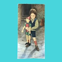 Signed Mabel Davis - Oil on Canvas - Pinocchio and Friend