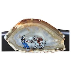 Painted Agate Slice of a Miner and his Mule - Harry Pontiere