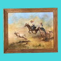 Signed MA Raksanyi 9/72- Oil on Canvas of Western Cowboy Rodeo Scene
