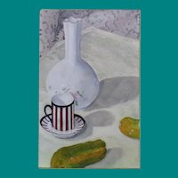 Illegible Signature - Oil on Canvas, Still Life of Vase, Demitasse, and Pickles
