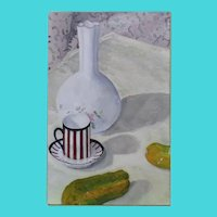 Still Life of Vase, Demitasse, and Pickles - Illegible Signature - Oil on Canvas