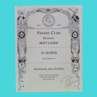 Tom Cruise Autograph on 2008 Program from New York's Friars Club