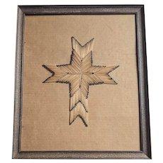 Prison Art - Match Stick Cross, Framed under Glass