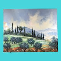Signed B. Rann - Oil on Canvas, Landscape of Tuscany