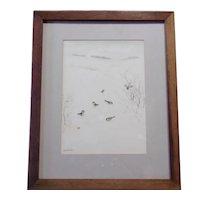 Ron Waelchli - Mixed Media on Paper, Winter Birds
