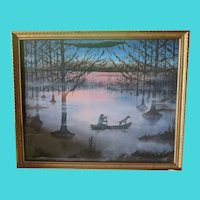 """""""Bayou"""" Scene of Man and his Dog - Charles E. Williams - Oil on Panel"""