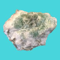 Calcite on Green Fluorite Mineral Specimen, Acquired in the 1960s