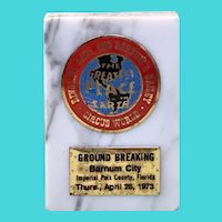 1973 Ringling Brothers and Barnum & Bailey Circus Memento on Italian Marble