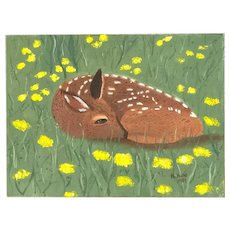 Signed R. Hand, 1989 - Oil on Canvas of  a Resting Fawn
