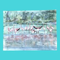 A Flamboyance of Flamingoes - Impressionist Style Oil on Unstretched Canvas