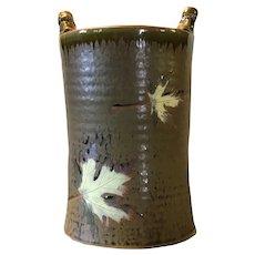 Travis Berning - Ceramic Wine Chiller or Vase with Unglazed Leaf Designs
