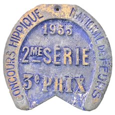 1955 French Horse Show 3rd Place Trophy Metal Plaque