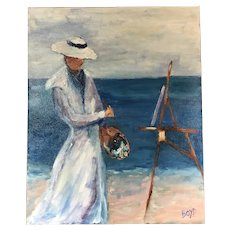 Impressionist Woman Painting Seaside - Signed Boyd - Oil on Canvas