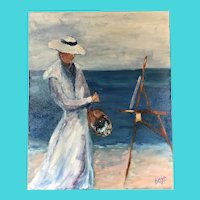 Signed Boyd - Oil on Canvas, Impressionist Woman Painting Seaside