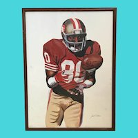 Jerry Rice, Football Hall of Fame Wide Receiver for the San Francisco 49ers - Oil on Paper, Illegible Signature