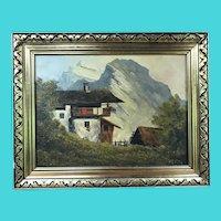 Mountain and Lodge Scene of Austria - Signed Kreus - Oil on Masonite Panel
