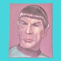Portrait of Leonard Nimoy as Mr. Spock from Star Trek - Pastel on Canvas