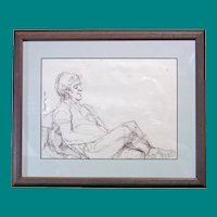 Illegible Signature - Ink Sketch of Relaxed Man