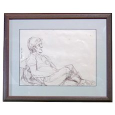 Relaxed Man - Illegible Signature - Ink Sketch
