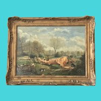 Barbizon School Painting of Wood Choppers and Wood Sawyers - Signed Rousseau - Oil on Canvas
