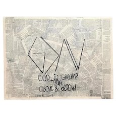 """""""God is Greater than Above and Below"""" - Mixed Media on Canvas, Signed Sadie"""