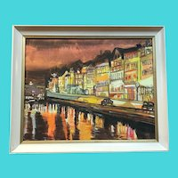 European City on the River - Signed Sarah Moore 1972 - Oil on Canvas