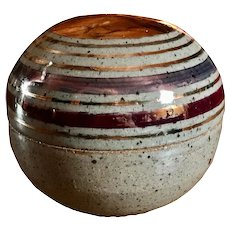 Glazed Pottery Vessel with Lid, and Copper Luster Designs - Illegible Signature