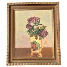 Still Life of Painted Flower Vase - Oil on Board - Signed T. Jackson '68