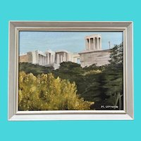 Signed M. Unwin - Oil on Board of The Acropolis