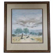 Mountain Landscape Watercolor or Coastal Landscape - Signed Barnes