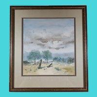 Signed Barnes - Watercolor of Mountain Landscape, possible Coastal Landscape