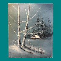Illegible Signature - Oil on Canvas of Winter Scene