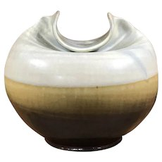 Signed Woodside - Art Pottery, Studio Glazed Vase with Unusual and Clever Design