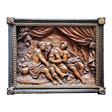 Carved Wood Relief Scene of Lot and His Daughters