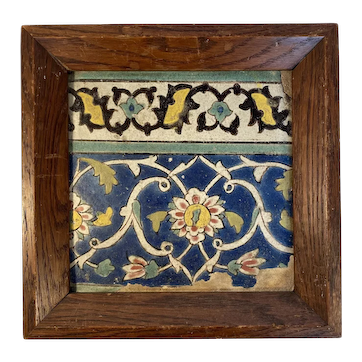 Ottoman Period Framed Colorful Tile