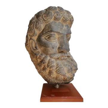 A Gandhara Gray Stone Large Head of Atlas or Hercules