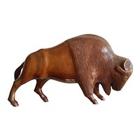 20th Century Signed Hand Carved Native American Bison in Cherry Wood- 12.5 inches